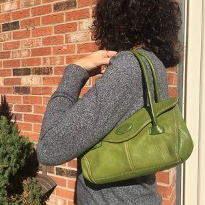 Tig and Co green leather handbag